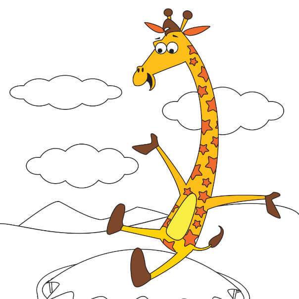 jump around with Geoffrey digital coloring page