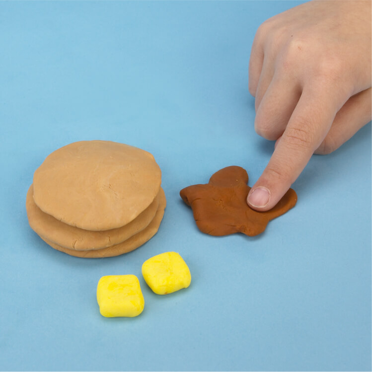 how to make pretend pancakes with PlayDoh dough compound step two