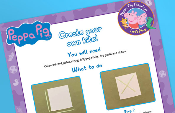 Peppa Pig create your own kite free printable for kids