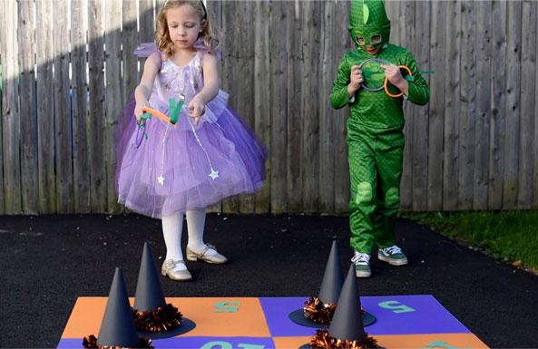 Halloween ring toss diy activity for kids