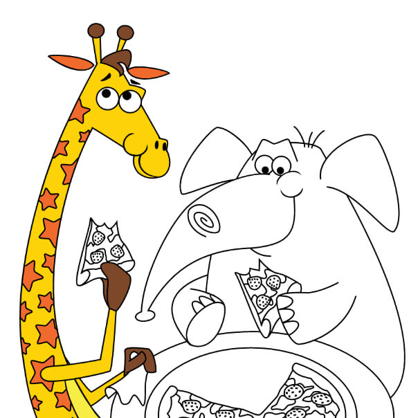 Geoffrey's pizza party digital coloring page