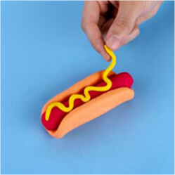 play-doh how to make a pretend hotdog