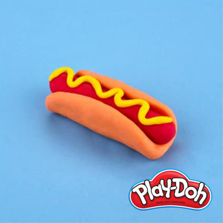 completed PlayDoh pretend hotdog