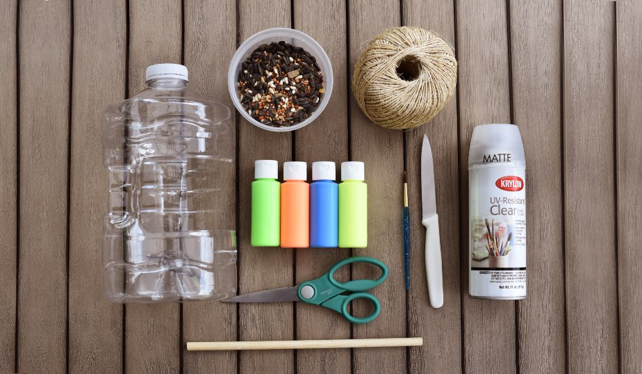 flat lay of the supplies for the diy bird feeder activity for kids