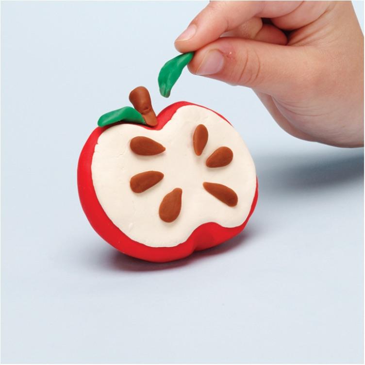 how to make a pretend apple with PlayDoh dough compound step three