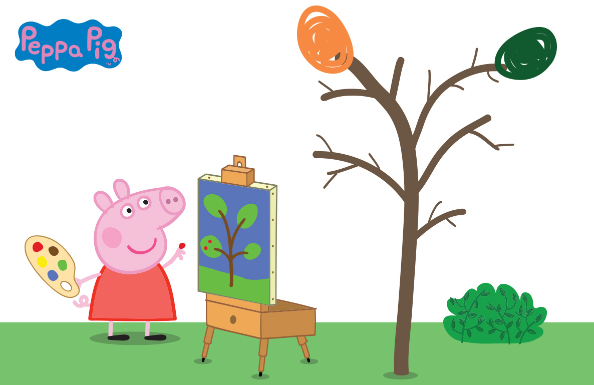 finger painting with Peppa Pig