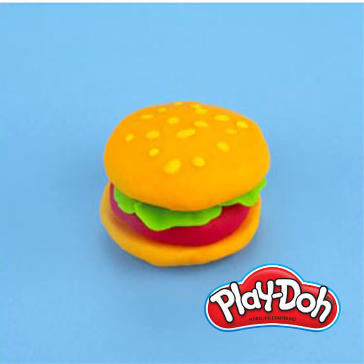 PlayDoh pretend hamburger