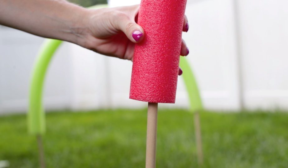 pool noodle attached to dowel