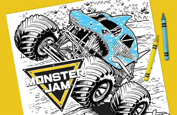 Monster Jam coloring sheets free printable for kids
