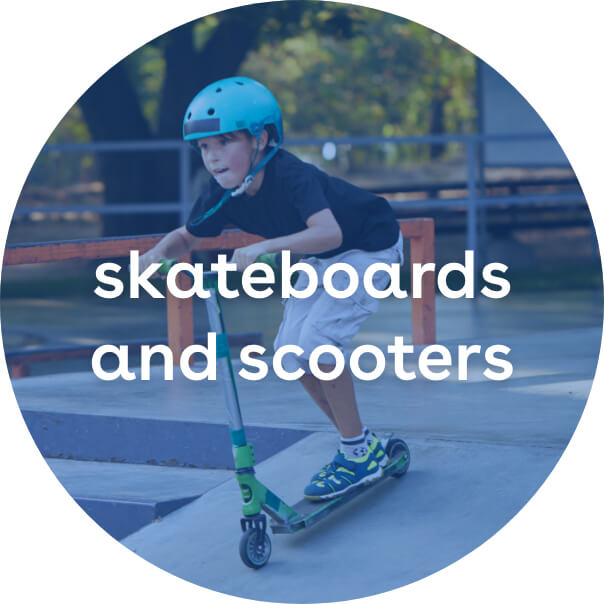 skateboards and scooters
