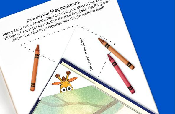 peeking Geoffrey bookmark