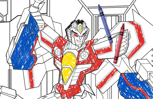 Transformers coloring action free printable for kids
