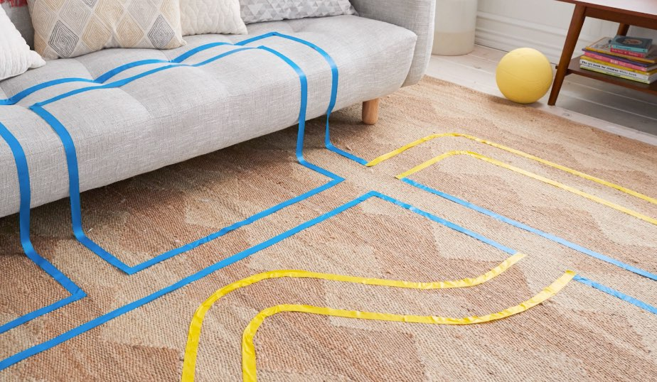 create roads and intersections with masking tape