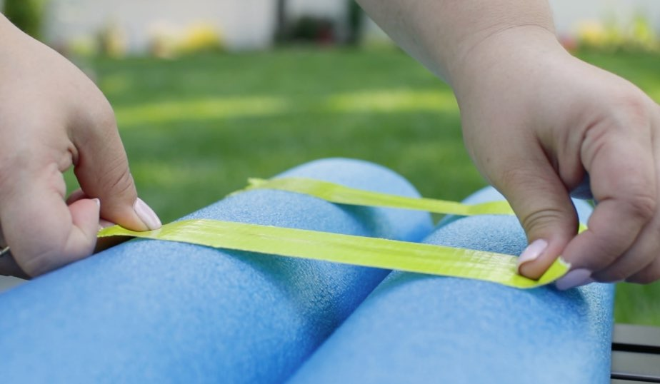 cut pool noodles in half and tape them together side by side