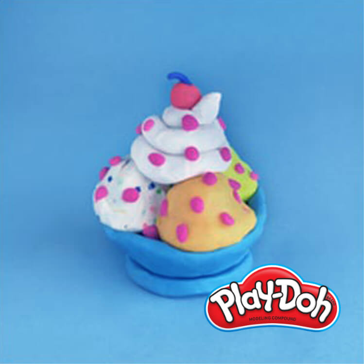 completed PlayDoh pretend ice cream sundae