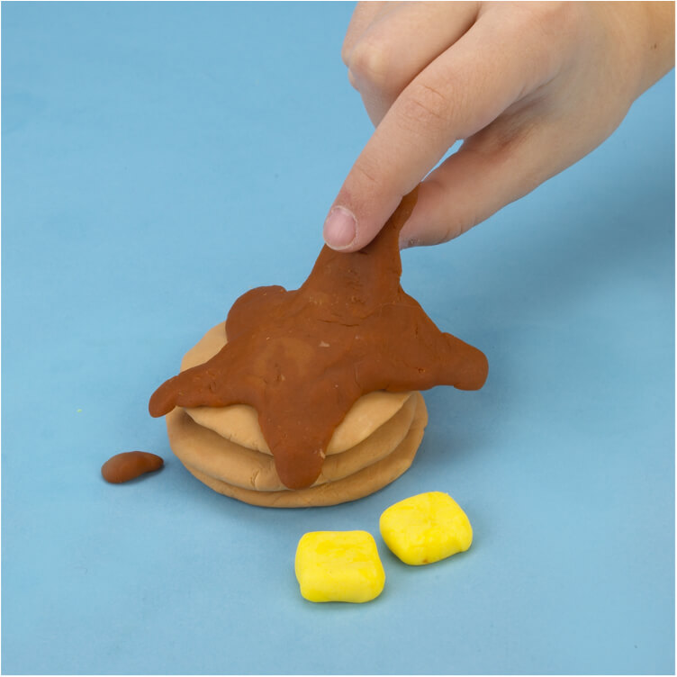 how to make pretend pancakes with PlayDoh dough compound step three