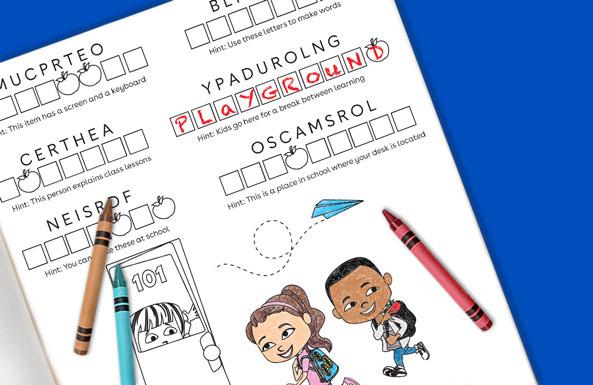 back-to-school word jumble free printable for kids