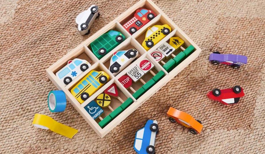 masking tape, wooden vehicles