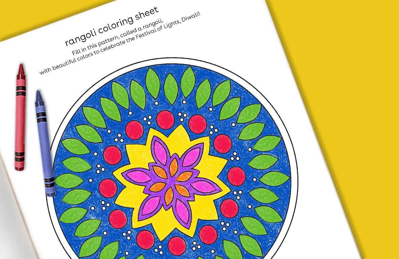 rangoli coloring sheet