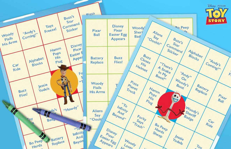 Toy Story movie night bingo