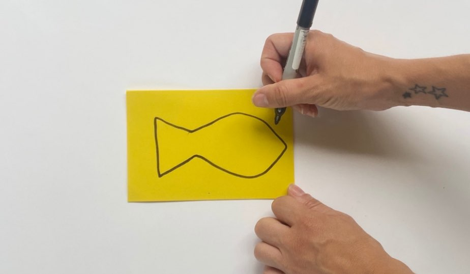 fish drawn with marker on craft foam or construction paper