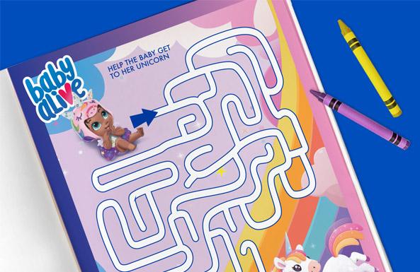 Baby Alive maze free printable for kids