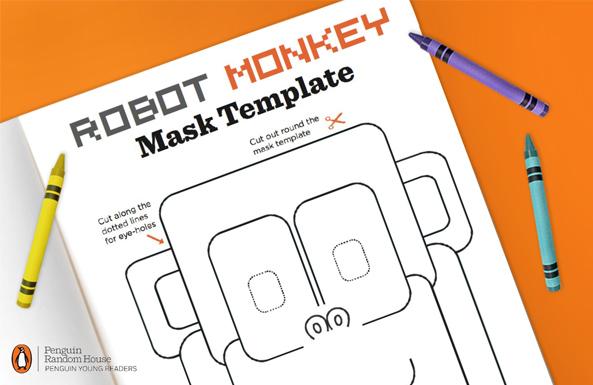 Penguin robot monkey mask free printable for kids