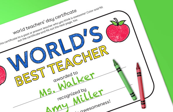 world teachers' day certificate free printable for kids