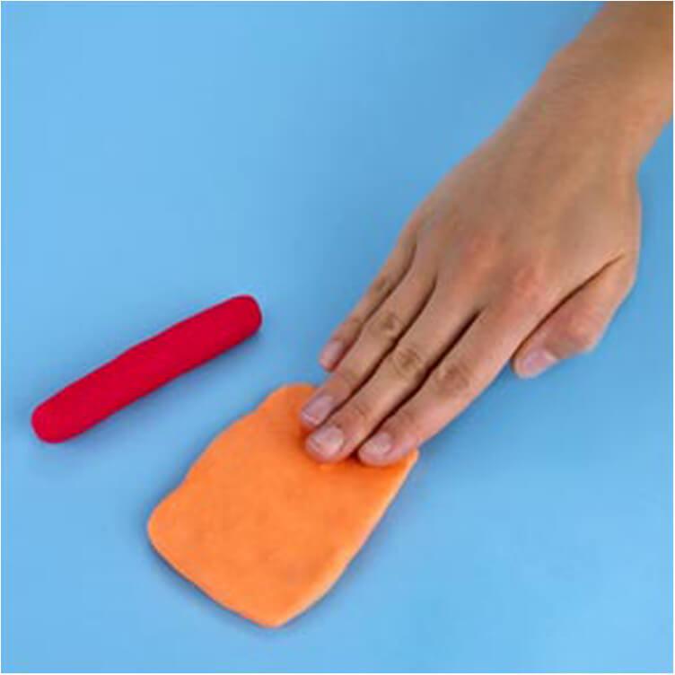 how to make a pretend hotdog with PlayDoh dough compound step one