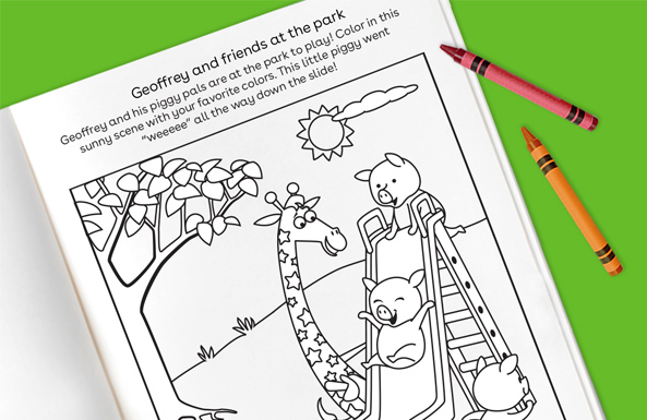 Geoffrey and friends at the park free printable for kids