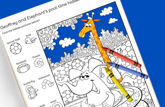 Geoffrey and Elephant's pool time hidden picture puzzle