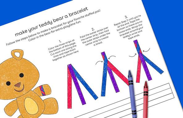 make your teddy bear a bracelet free printables for kids