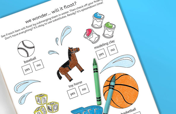 will it float sciecene experiment free printable for kids