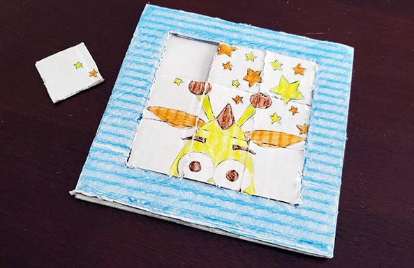 cardboard slide puzzle diy activity ideas for kids