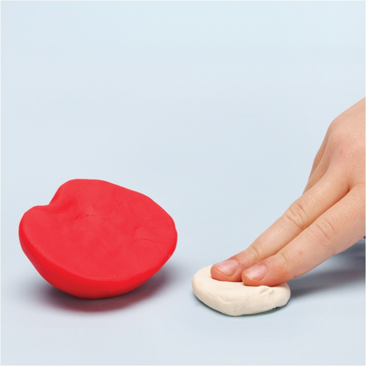 how to make a pretend apple with PlayDoh dough compound step one