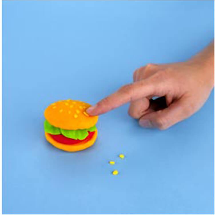 how to make a pretend hamburger with PlayDoh dough compound step three