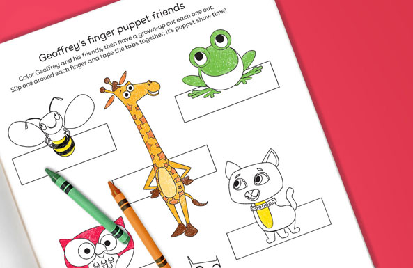 Geoffrey's finger puppet friends free printable for kids